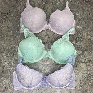 3 Lace Bra Bundle 38B Lavender Mint Green